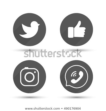 Set of round black camera media buttons. Vector illustration isolated on modern background. Stock photo © kyryloff