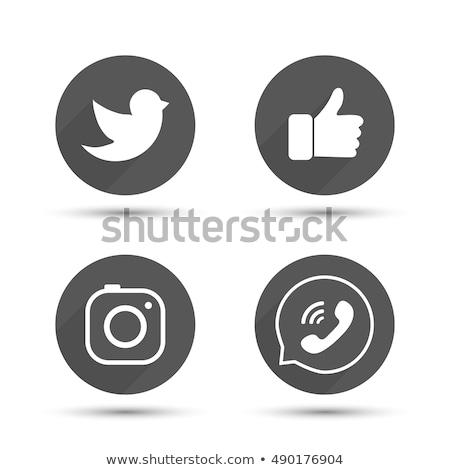 Set of round black camera media buttons. Vector illustration isolated on modern background. Stock photo © kyryloff