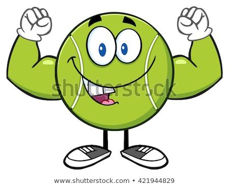 Happy Tennis Ball Cartoon Mascot Character Flexing. Stock photo © hittoon