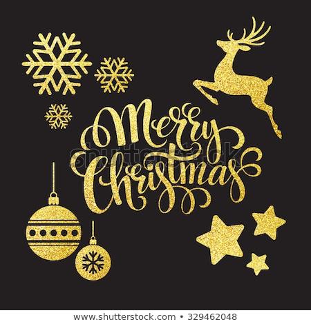 allegro · Natale · oro · cervo · glitter · biglietto · d'auguri - foto d'archivio © cienpies