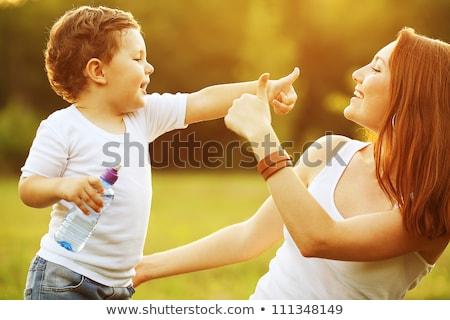 Stockfoto: Moeder · zoon · bos · vrouw · gelukkig