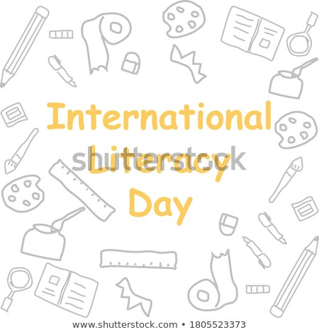 Happy Literacy Day Cartoon Letters Greeting Poster Stock photo © robuart