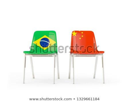 Dwa krzesła flagi Chiny Brazylia odizolowany Zdjęcia stock © MikhailMishchenko