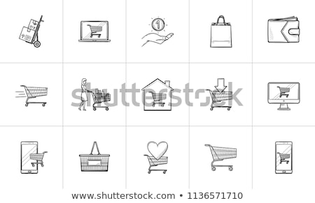 shopping and paying hand drawn outline doodle icon set stock photo © rastudio