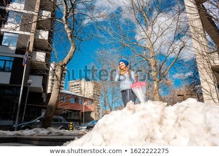 nő · város · séta · hó · víz · tavasz - stock fotó © kzenon
