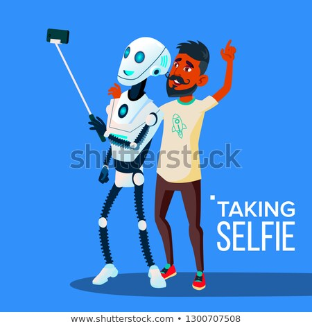 Robot Takes A Selfie On Smartphone With Friend Guy Vector. Isolated Illustration Stock photo © pikepicture