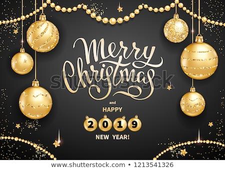 Gelukkig vakantie opschrift gouden christmas bal Stockfoto © robuart