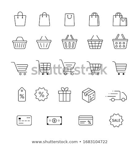 boodschappentas · iconen · witte · business · geld · winkelen - stockfoto © robuart