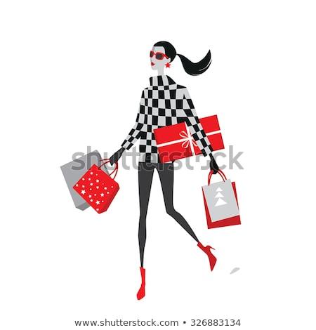 Noel · alışveriş · kız · sevimli · esmer - stok fotoğraf © robuart
