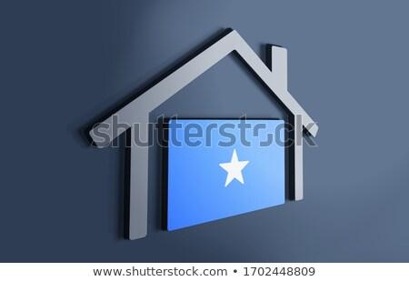 Huis vlag Somalië rij witte huizen Stockfoto © MikhailMishchenko