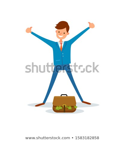Cheerful Worker Get Bag Full of Money Manager Suit Stock photo © robuart