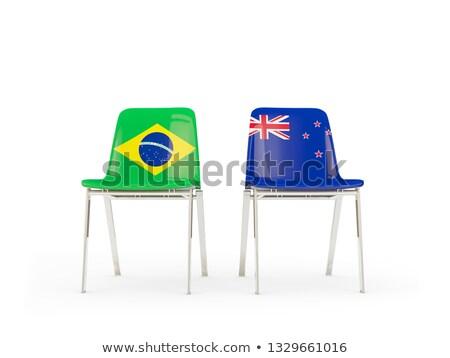 Twee stoelen vlaggen Brazilië New Zealand geïsoleerd Stockfoto © MikhailMishchenko