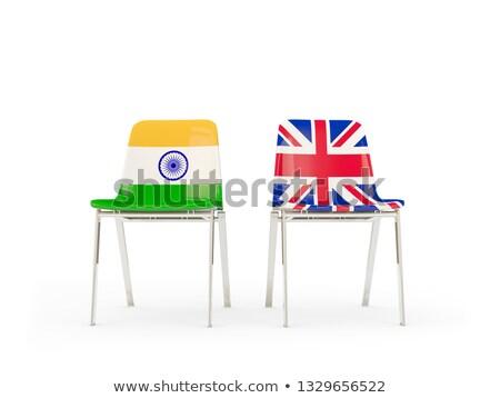Dois cadeiras bandeiras Índia Reino Unido isolado Foto stock © MikhailMishchenko