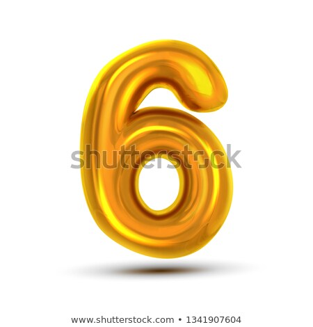 6 Six Number Vector. Golden Yellow Metal Letter Figure. Digit 6. Numeric Character. Alphabet Typogra Stock photo © pikepicture