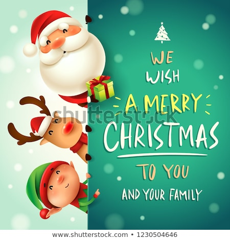 christmas greeting cards with santa claus and elf stock photo © robuart