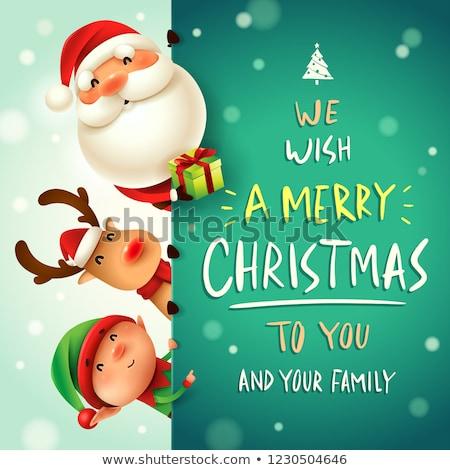 Karácsony üdvözlet kártyák mikulás manó vektor Stock fotó © robuart