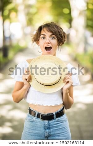 изображение · счастливым · кавказский · женщину · 20-х · годов · соломенной · шляпе - Сток-фото © deandrobot