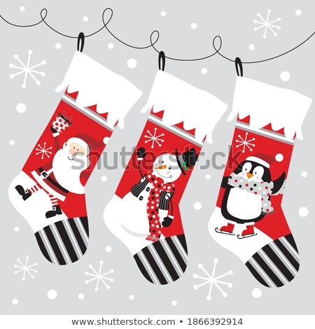 Greeting Card Penguins with Socks and Gift Vector Stock photo © robuart