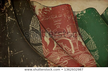 Old Paper Print - Waving Flag of Afghanistan Stock photo © nazlisart