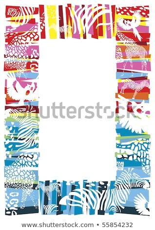 国境 テンプレート 野生動物 青 実例 紙 ストックフォト © colematt