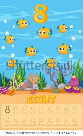 nyolc · matematika · iskola · hal · tenger · háttér - stock fotó © colematt