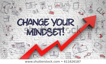 Transform Your Thinking Drawn on White Wall. 3d. Stock photo © tashatuvango