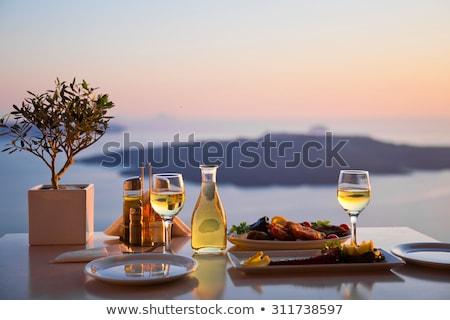 étterem tenger mediterrán vakáció nyári szabadság eszik Stock fotó © Anneleven