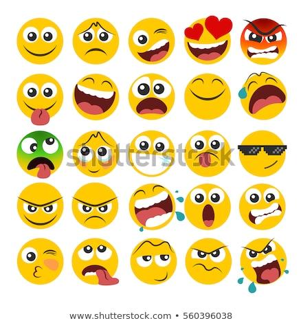 Amarelo bola diferente expressões faciais ilustração flor Foto stock © colematt