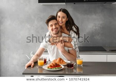 retrato · Pareja · sesión · mesa · desayuno · casa - foto stock © deandrobot