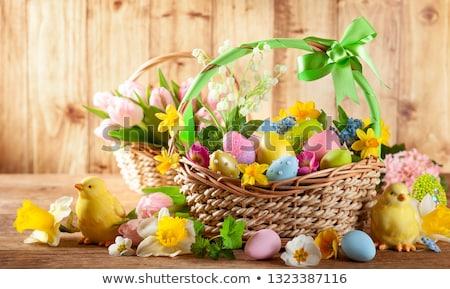 Paskalya · süslemeleri · sarı · lale · ahşap · yumurta · kabuğu - stok fotoğraf © melnyk