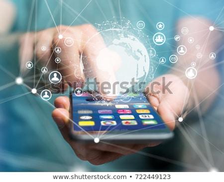 Férfi közösségi háló hologram kommunikáció emberi erőforrások Stock fotó © dolgachov