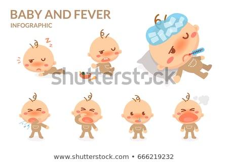 Baba köhögés illusztráció gyerek fiú orvosi Stock fotó © lenm
