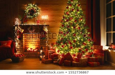 christmas living room fire stock photo © jsnover