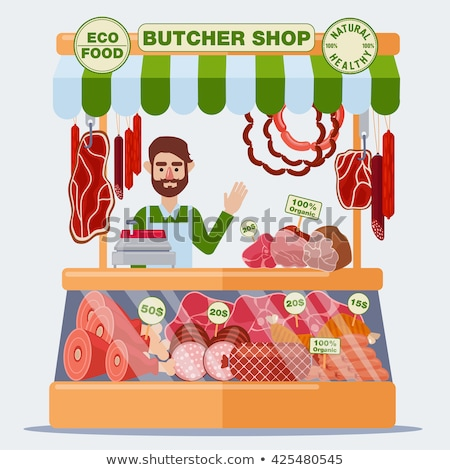 Butchery Shop Kiosk Sausage and Meat Store Vector Stock photo © robuart