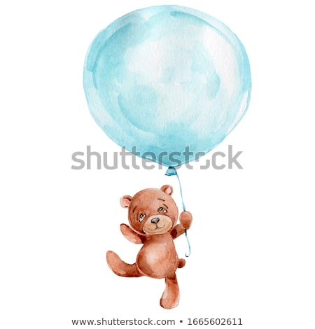Blue balloon isolated on background. Watercolor painting. Stock photo © Arkadivna