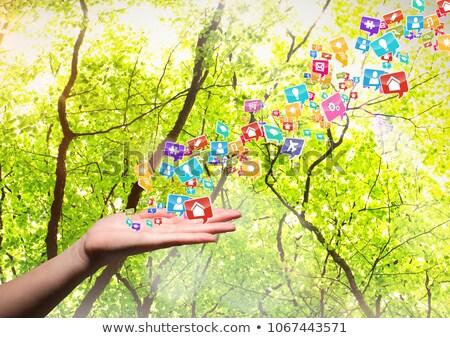 Mano applicazione icone up offuscata alberi Foto d'archivio © wavebreak_media