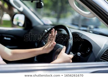 Mérges sofőr kisajtolás duda sikít lány Stock fotó © AndreyPopov