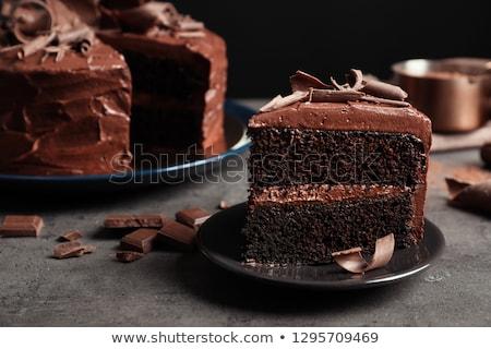Csokoládés sütemény fa deszka asztal csokoládé piros desszert Stock fotó © tycoon