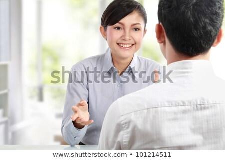 Kettő üzletember ül szemtől szembe megbeszélés kilátás Stock fotó © AndreyPopov