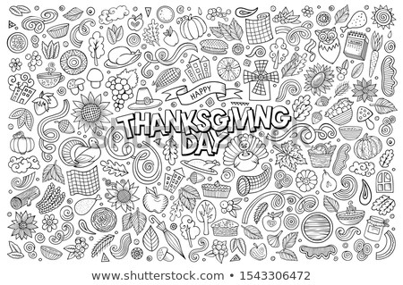 Foto d'archivio: Line Art Hand Drawn Doodle Cartoon Set Of Thanksgiving Objects And Symbols