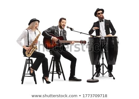 Jazz band gruppo isolato bianco maschio Foto d'archivio © cienpies