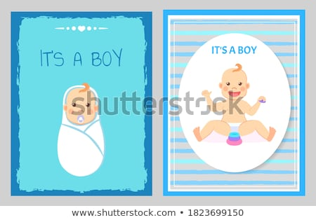 Baby Shower Greeting Card, Kid Playing with Blocks Stock photo © robuart