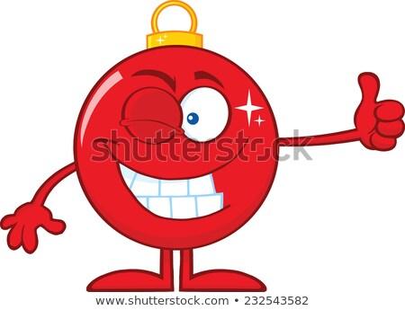 Vermelho natal bola polegar Foto stock © hittoon