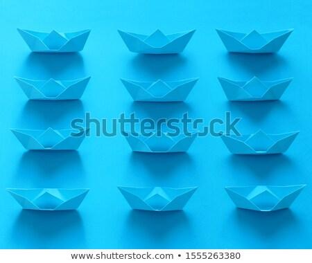 реальный оригами лодках синий путешествия Сток-фото © diego_cervo