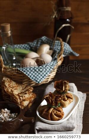 Casero crepe huevo setas leche desayuno Foto stock © Melnyk