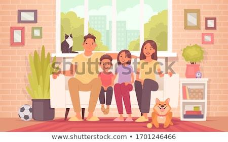 Familie home ontwerp stijl illustratie coronavirus Stockfoto © Decorwithme