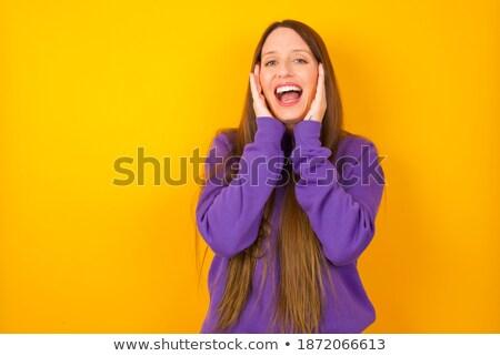 Fotó aranyos fiatal nő hosszú haj kellemes megjelenés Stock fotó © vkstudio