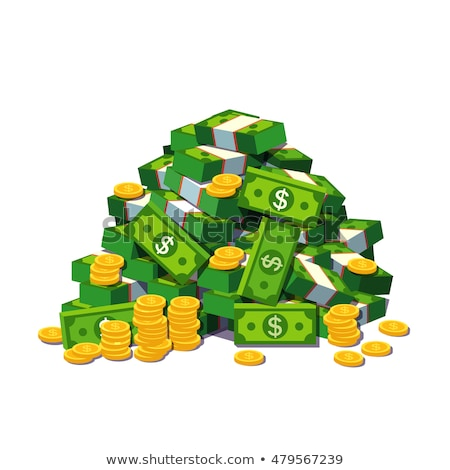 Cartoon money. Green banknote and gold coins cartoon vector illustration. Flying and rolls bills, lo Stock photo © designer_things