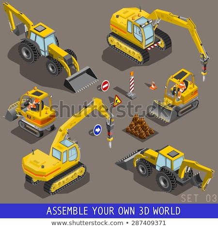 Tow Truck Transport Isometric Icons Set Vector Stock photo © pikepicture