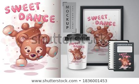 Oyuncak ayı poster el çekmek bebek kitap Stok fotoğraf © rwgusev